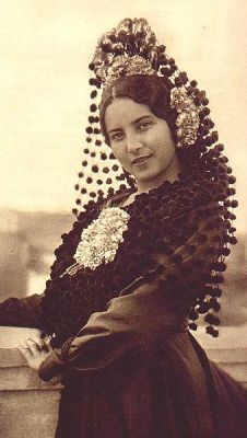 Brides in Spain wore black, with tall, intricate veils